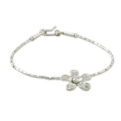Floral Karen 950 Silver Beaded Bracelet from Thailand