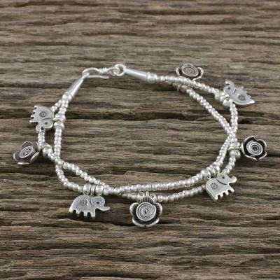 Silver beaded charm bracelet, Elephant Flowers