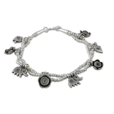 Karen Silver Floral Elephant Charm Bracelet from Thailand