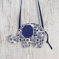Cotton sling, 'Lively Elephant' - Thai Artisan Crafted Cotton Sling Shaped like an Elephant