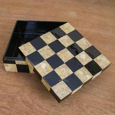 Wood decorative box, 'Mosaic Chess' - Wood Mosaic Decorative Box from Thailand