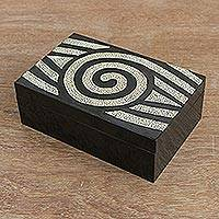 Wood decorative box, 'Mosaic Eye' - Eye Motif Wood Mosaic Decorative Box from Thailand