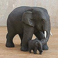Teakwood sculpture, 'Elephant Mother' - Elephant Mother and Child Hand Carved Teak Figurine