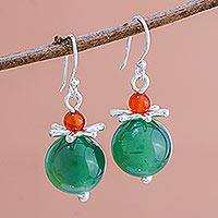 Chalcedony dangle earrings, 'Hover' - Green Chalcedony Karen Hill Tribe Silver Dangle Earrings