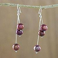 Cultured pearl dangle earrings, 'Ripe Berries' - Red Cultured Pearl and Sterling Silver Dangle Earrings