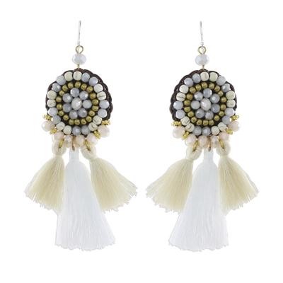 Calcite Grey Glass and Brass Bead Tasseled Dangle Earrings