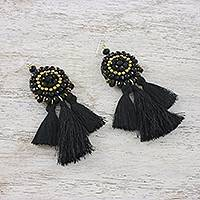 Onyx beaded dangle earrings, 'Joyful Swing in Black' - Onyx Black Glass and Brass Bead Tasseled Dangle Earrings