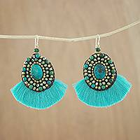 Serpentine dangle earrings, 'Vivid' - Turquoise Fringe Serpentine and Brass Bead Dangle Earrings