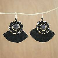 Quartz and agate dangle earrings, 'Twilight Dancer' - Black Fringe Quartz Agate and Brass Bead Dangle Earrings