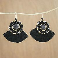 Quartz and agate dangle earrings Twilight Dancer (Thailand)