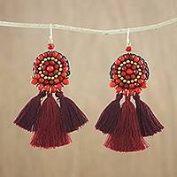 Calcite dangle earrings, 'Playful Tassels in Red' - Dangle Earrings of Red Calcite and Glass Beads Plus Tassels