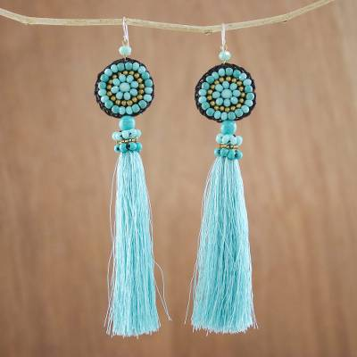 Calcite dangle earrings, 'Dance With Me in Blue' - Long Tassel Blue Calcite and Glass Bead Dangle Earrings