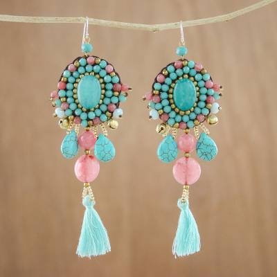 Quartz and calcite dangle earrings, 'Ballroom Chic in Aqua' - Pink Quartz Blue Calcite Beaded Oval Tassel Dangle Earrings