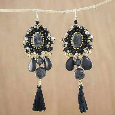 Multi-gemstone dangle earrings, 'Ballroom Chic in Black' - Black Quartz Agate Onyx Beaded Oval Tassel Dangle Earrings