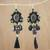 Multi-gemstone dangle earrings, 'Ballroom Chic in Black' - Black Quartz Agate Onyx Beaded Oval Tassel Dangle Earrings thumbail