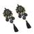 Multi-gemstone dangle earrings, 'Ballroom Chic in Black' - Black Quartz Agate Onyx Beaded Oval Tassel Dangle Earrings (image 2c) thumbail