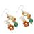 Multi-gemstone cluster earrings, 'Vivacious Color' - Multi-Gemstone Cluster Sterling Silver Dangle Earrings (image 2c) thumbail