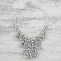 Cultured pearl statement necklace, 'Moonlight Shower' - Grey Cultured Pearl Cascade Handcrafted Statement Necklace