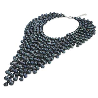 Cultured pearl statement necklace, 'Waterfall at Night' - Black Cultured Pearl Cascade Handcrafted Statement Necklace