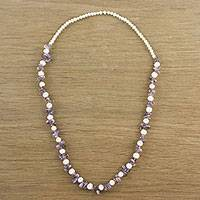 Amethyst and cultured pearl beaded necklace, 'Soft Lavender' - Amethyst and Cultured Pearl Beaded Necklace from Thailand