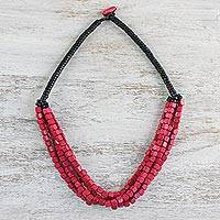 Wood beaded necklace, 'Box Rose' - Fuchsia Cube Black Disc Wood Multi-Strand Beaded Necklace