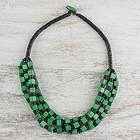 Wood beaded necklace, 'Meadow' - Green Cube and Black Disc Wood Multi-Strand Beaded Necklace