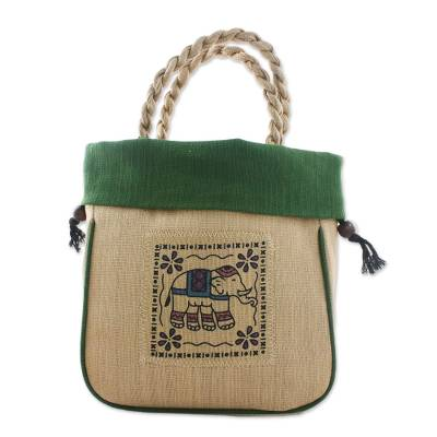 Elephant Cotton Handle Handbag in Green from Thailand
