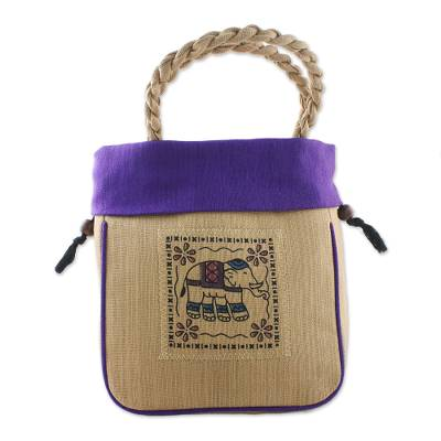 Elephant Cotton Handle Handbag in Purple from Thailand