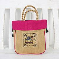 Cotton handle handbag, 'Graceful Elephant in Fuchsia' - Elephant Cotton Handle Handbag in Fuchsia from Thailand