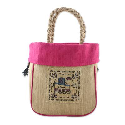 Elephant Cotton Handle Handbag in Fuchsia from Thailand