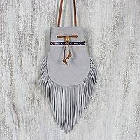 Suede sling, 'Chic Bohemian in Grey' - Chic Bohemian Grey Suede Sling with Fringe