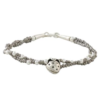 Strawberry Charm Double Strand Karen Silver Beaded Bracelet