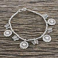 Silver beaded charm bracelet, 'Garden Pair' - Butterfly and Sunflower Charm Karen Silver Beaded Bracelet
