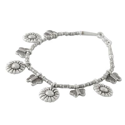 Butterfly and Sunflower Charm Karen Silver Beaded Bracelet