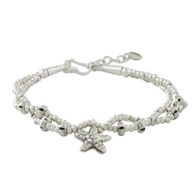 Starfish Charm Double Strand Karen Silver Beaded Bracelet