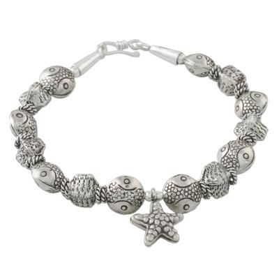 Sea-Themed Starfish Charm Karen Silver Beaded Bracelet