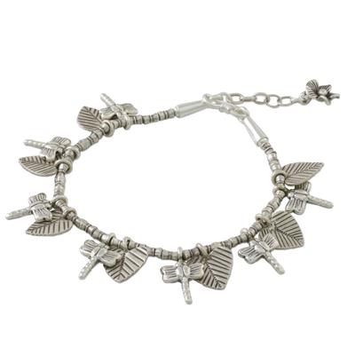 Dragonfly and Heart Leaf Charm Karen Silver Beaded Bracelet