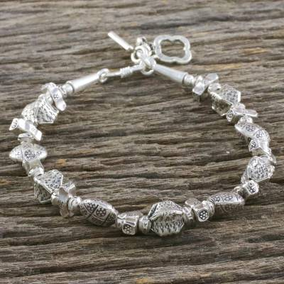Silver beaded bracelet, Treasured Texture