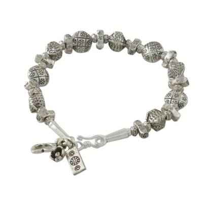 Karen Silver Textured Bead Charm Bracelet from Thailand