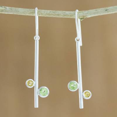 Peridot and citrine dangle earrings, 'Meeting of Worlds' - Modern Peridot and Citrine Earrings from Thailand