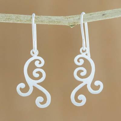 Sterling silver dangle earrings, 'Swirls of Nature' - Swirl Motif Sterling Silver Dangle Earrings from Thailand