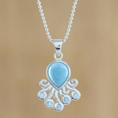 Larimar and blue topaz pendant necklace, 'Sweet Octopus' - Larimar Blue Topaz Octopus Sterling Silver Pendant Necklace