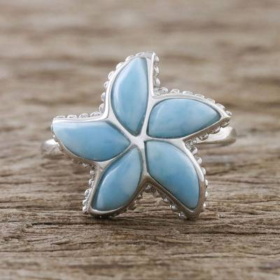 Handcrafted Larimar Sterling Silver Starfish Cocktail Ring