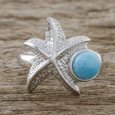 Larimar and Textured Sterling Silver Starfish Cocktail Ring