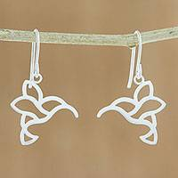 Sterling silver dangle earrings, 'Hummingbird Delight' - Sterling Silver Hummingbird Dangle Earrings from Thailand