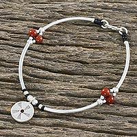 Jasper beaded charm bracelet, 'Captured Energy' (Thailand)