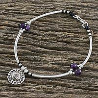 Amethyst beaded charm bracelet, 'Explore' (Thailand)