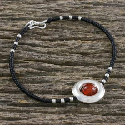 Carnelian beaded pendant bracelet, 'Revolve in Red-Orange' - Carnelian and Hill Tribe Silver Beaded Pendant Bracelet