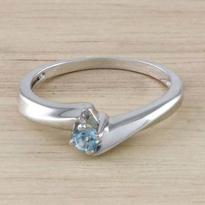 Blue Topaz and Sterling Silver Solitaire Ring from Thailand