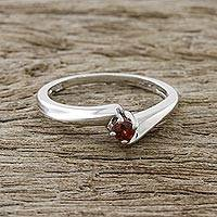 Garnet solitaire ring, 'Pretty Twist' - Elegant Garnet Solitaire Ring from Thailand